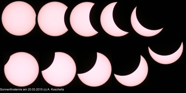 Die Phasen der Sonnenfinsternis, aufgebommen von Herrn Dr. Koschella, Urania-Sternwartenverein
